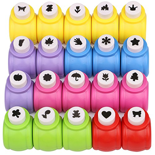 Kattool Paper Punches Set, Mini Crafting Paper Punch Crafts Puncher Image Hole Cutters for Scrapbooks Albums Photos Cards and DIY Handcrafts, Pack of 20, 20 Patterns ()