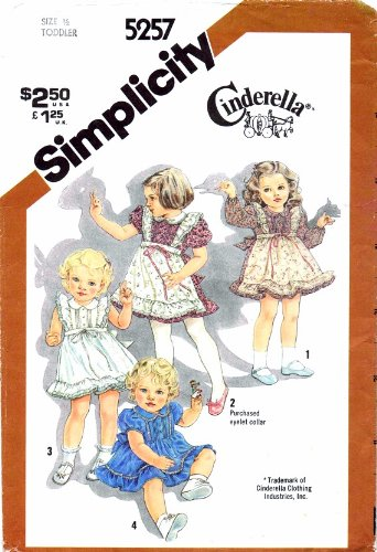 Toddler Girls Ruffled Dress Cinderella 1980s Simplicity 5257 Vintage Sewing Pattern Check Listings for Size