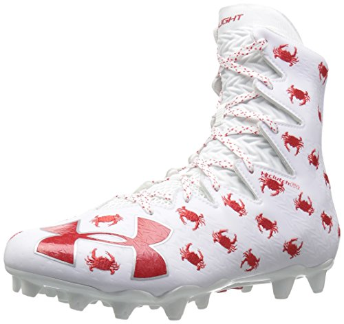 Under Armour Men's Highlight M.C. -Limited Edition Lacrosse Shoe, White (161)/Red, 10