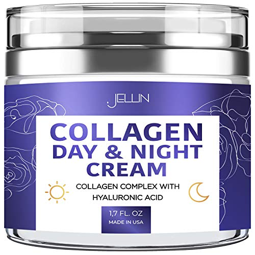 Collagen Cream Organic Anti Aging Face Moisturizer Skin Care Hyaluronic Acid and Vitamin C Cleanse Facial Treatment Supports Cell Renewal Boosting Elasticity Anti Wrinkle Day and Night For Women Men