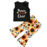 gllive Toddler Baby Girl Clothes Flower Child T-Shirt Tops + Sunflower Leggings Pants Outfit Set (Black+Flower, 6-12 Months)