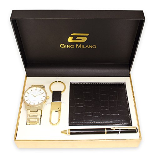 (Men's Gold Watch Gift Set with Wallet, Pen & Key Chain (White Dial))
