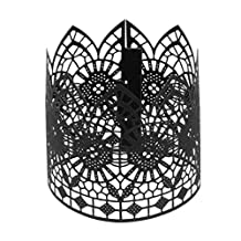 Tea Light Candle Lampshade Holder Lanterns Wedding Party 3 Colors Pack of 6 - Black