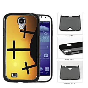 Three Crosses Silhouette And Sunset Hard Plastic Snap On Cell Phone Case Samsung Galaxy S4 SIV I9500