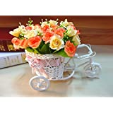1pcs Rattan Tricycle Bike Flower Basket Vase Storage Pot Home Table Top Decor(Orange)