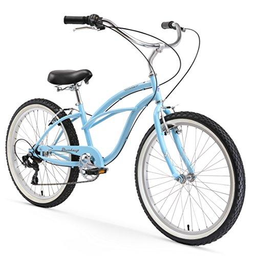 Ladies 24 Beach Cruiser - Firmstrong Urban Lady 7-Speed Beach Cruiser Bicycle, 24-inch, Baby Blue