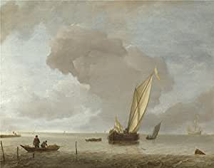 'Jan van de Cappelle A Small Dutch Vessel before a Light Breeze ' oil painting, 16 x 20 inch / 41 x 52 cm ,printed on Perfect effect canvas ,this Cheap but High quality Art Decorative Art Decorative Prints on Canvas is perfectly suitalbe for Laundry Room decoration and Home artwork and Gifts