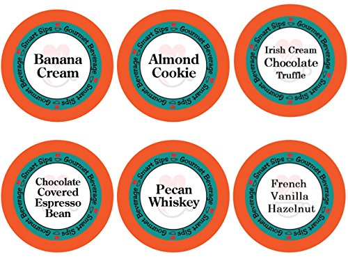 Smart Sips, Coffee Lovers Variety Sampler Pack- Banana Cream, Chocolate Covered Espresso Bean, Pecan Whiskey, Almond Cookie, Vanilla Hazelnut, Irish Cream Chocolate - for All Keurig K-cup Machines ()