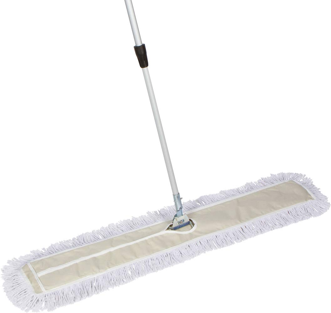 Tidy Tools 48 Inch Industrial Strength Cotton Dust Mop with Extendable Metal Telescopic Handle and Frame. 48'' X 5'' Wide Mop Head with Cut Ends
