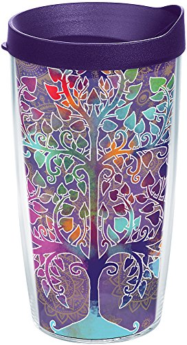 Tervis 1250528 Tree of Life Tumbler with Wrap and Royal Purple Lid 16oz, Clear (Tree Tumbler)