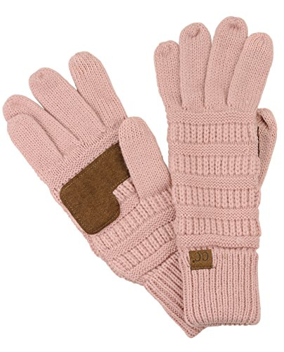 C.C Unisex Cable Knit Winter Warm Anti-Slip Touchscreen Texting Gloves, Indi Pink