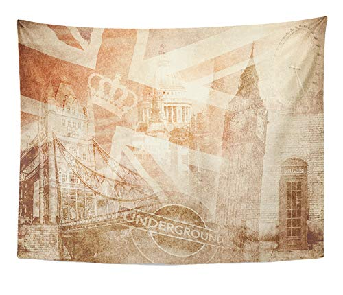 Emvency Tapestry Artwork Wall Hanging Brown British Montage of London on Vintage Red Flag Union Jack Collage England Old 60x80 Inches Tapestries Mattress Tablecloth Curtain Home Decor Print -