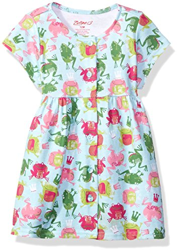 Zutano Baby Girls' Classic Short Sleeve Button Dress, Frog Princess, 24M (18-24 Months) (Zutano Baby Dress)
