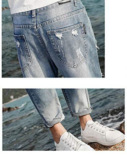Strappati Harem Jeans Aderenti Hellblau Casual Denim Pantaloni Uomo Yasminey Sfilacciati Giovane F07Ht7