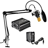 Aokeo AK-70 Professional Condenser Microphone & AK-35 Suspension Boom Scissor Arm Stand with Built-in XLR Cable and Mounting Clamp & AK-3 Pop Filter & 48V Phantom Power Supply with Adapter Kit