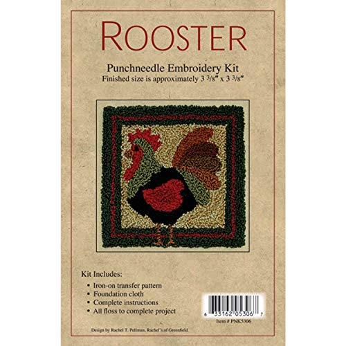 - Rachel's Of Greenfield Rooster Punch Needle Kit, 3-3/8 by 3-3/8-Inch