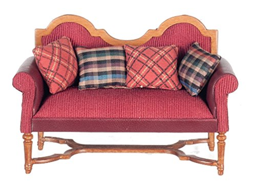 Melody Jane Dollhouse Spanish Setee Walnut Red Sofa Quality Miniature JBM Lounge Furniture by Melody