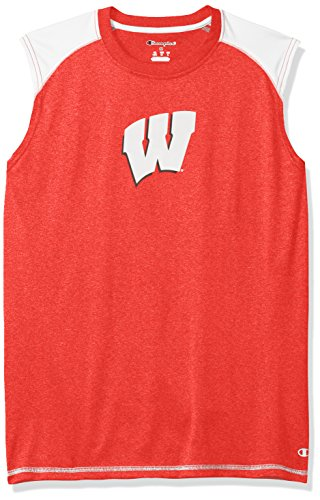 NCAA Wisconsin Badgers Men's Heather Jersey Colorblocked Muscle T-Shirt, Large, Red Heather