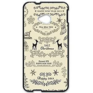 Merry Christmas Design Phone Case for Htc One M7 Cute Black Plastic Cover
