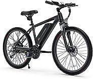 "26"" Electric Bike Adult Ebike, BAFANG 350W Brushless Motor, 36V/10.4Ah Detachable Lithium-Ion Battery 3 H"