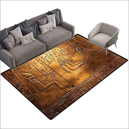 Old Text - Entrance Modern Area Rugs Egyptian Decor Collection,Egyptian Hieroglyphics Old Texts Logographic and Alphabetic Elements Design Print,Gold 80