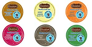 18 Pack Perfect Iced Tea Variety Pack of K Cups for Keurig Brewers (Brew Over Ice) - All By Celestial Seasonings: Sweet Peach Iced Tea, Southern Sweet Perfect Iced Tea, Unsweetened Black Iced Tea, Sweet Raspberry Iced Tea, Sweet Lemon Iced Tea
