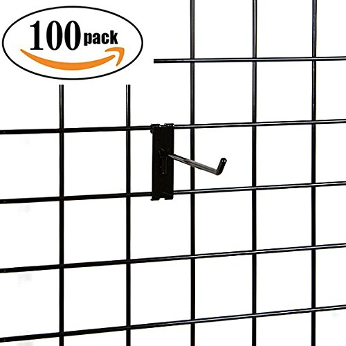 Only Hangers - Black 8 Inch Gridwall Peg Hooks - Pack of 100 Hooks