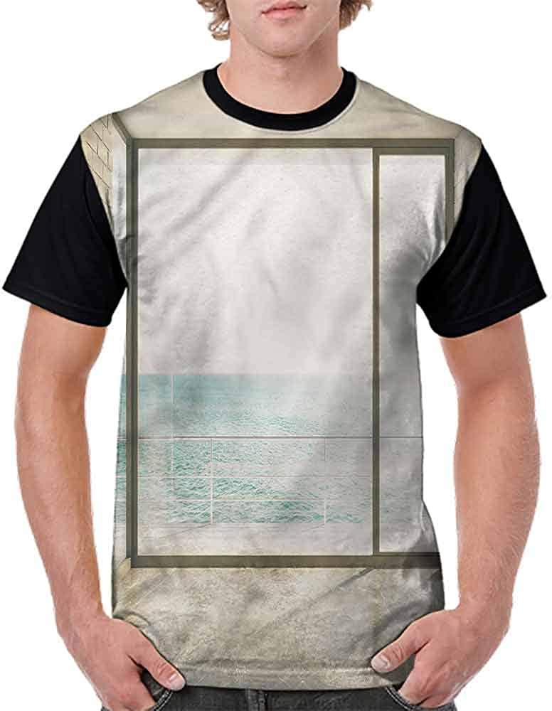 BlountDecor Printed T-Shirt,Calm Sea Tranquil Scenery Fashion Personality Customization