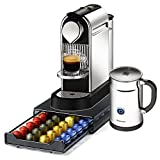 Nespresso Citiz C111 Chrome Single Serve Espresso Machine and Aeroccino Bundle and Bonus 40 Capsule Storage Drawer