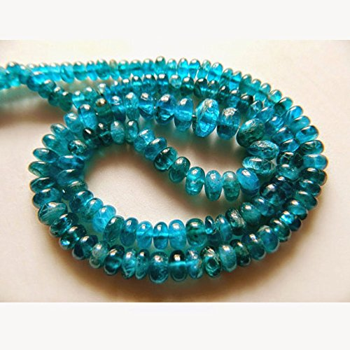 Apatite Beads, Neon blu Apatite Rondelles, Plain Rondelles, 5mm To 9mm Beads, 18 Inch Strand