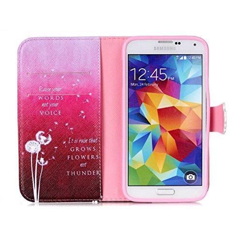 Samsung Galaxy S7 Edge Wallet Funda,Carcasa PU Leather Cuero Suave Impresión Cover Con Flip Case TPU Gel Silicona,Cierre Magnético,Función de Soporte,Billetera con Tapa Libro Tarjetas para Samsung Gal Dientes de león blanco