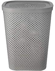 HOUZE - 60L Polka Dots Tall Laundry Basket (Grey)