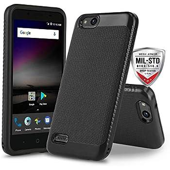 Phone Case for [ZTE ZFIVE G LTE (Z557BL) / ZTE ZFIVE C LTE (Z558VL)],  [Weave Series][Black] Shockproof Cover [Impact Resistant][Defender]  (Tracfone,