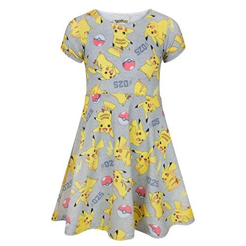 Pokemon Pikachu Girl's Short Sleeved Skater Dress