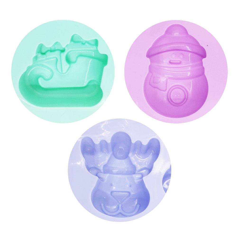 Vert 6/cavit/és/ pour savon chocolat g/âteaux Senhai Lot de 3/moules de No/ël en silicone avec forme de bonhomme de neige renne et tra/îneau /Violet Bleu