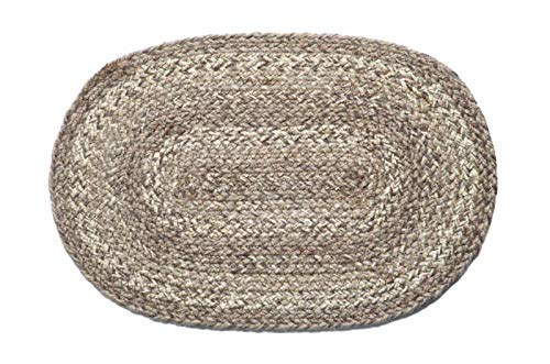 IHF Home Decor Ashwood Table Swatchs Rug for Kitchen, Farmhouse, Graden, Indoor, Outdoor, Dinner Tables, Living Room - 100% Jute Fabric Braided Area Swatch - Oval Shaped Rugs 10