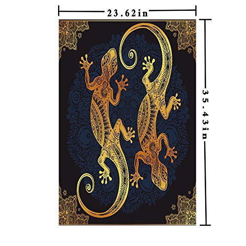 Removable Static Decorative Privacy Window Films 3D printed Decorative Kitchen/home/office/, Artistic Gecko Lizard Figures Boho Framework Tropical Henna Tattoo Style for Glass (23.62In. by 35.43In), ()