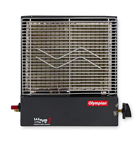 Camco Olympian RV Wave-3 LP Gas Catalytic Safety Heater, Adjustable 1600 to 3000 BTU, Warms 130 Square Feet of Space, Portable and Wall Mountable (Wave Catalytic Heater)