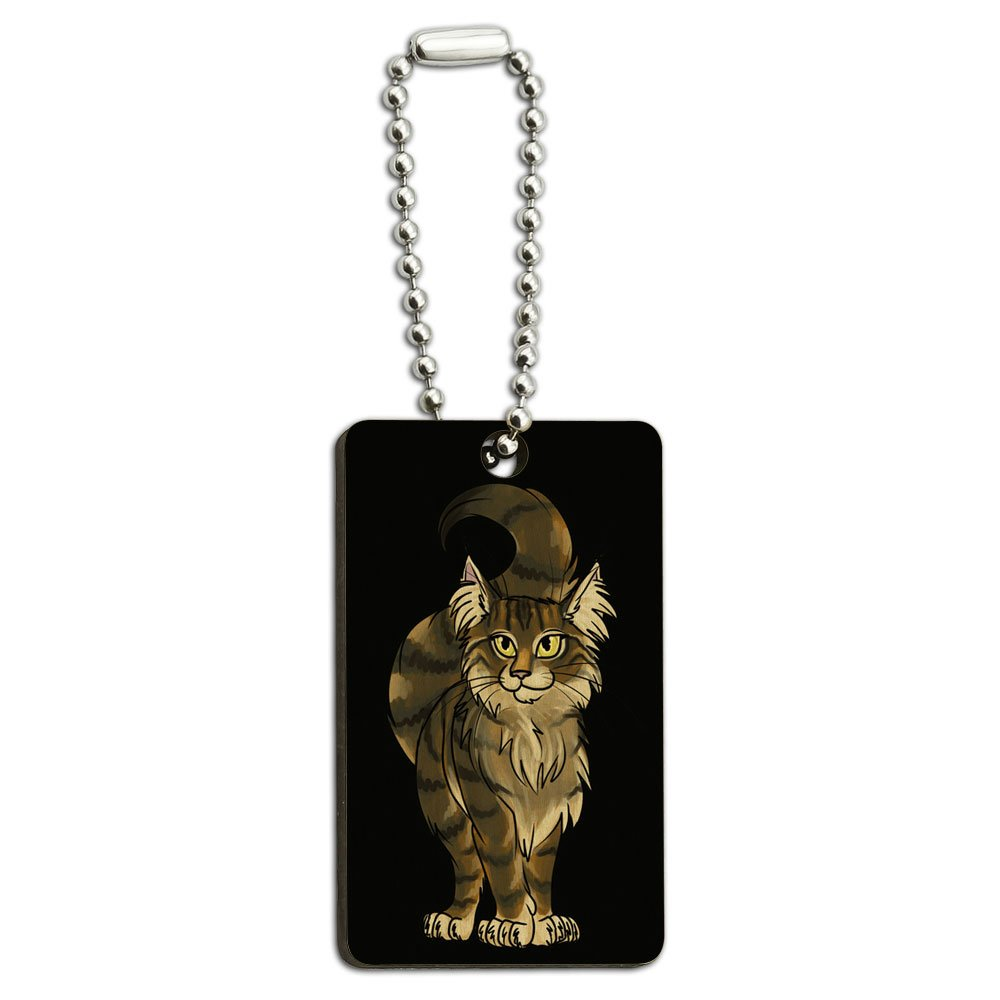 Maine Coon Cat On Black Wood Wooden Rectangle Key Chain