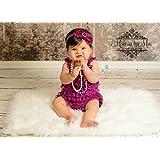 ca0222f41845 Baby Girl Raspberry Plum Lace Romper Set w Extra Headband