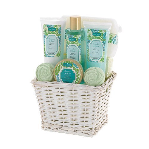 Spa Gift Set | Cucumber Basil Scent (Wicker Basket Gift Box compare prices)