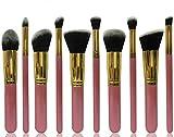 Moonkini 10pcs Powder Blush Foundation Contour Makeup Brushes Set Cosmetic Tool(pink+gold)
