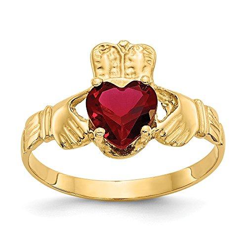 Mia Diamonds 14k Yellow Gold January Birthstone Claddagh Ring