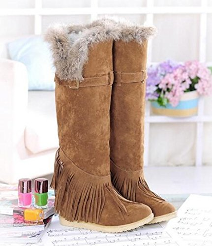 and winter Yellow boots boots snow boots Fall edge boots tassel knee new rabbit dO5A4ASq