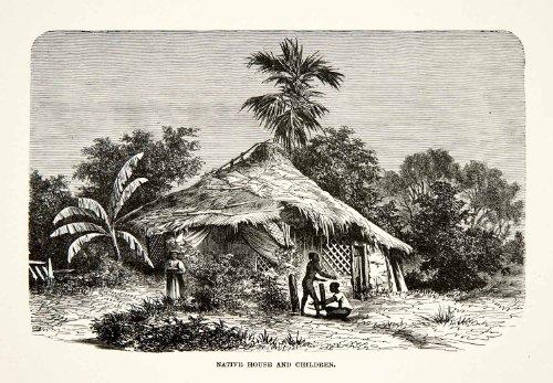 Sri Lanka Landscape (1881 Print Native House Home Hut Children Sri Lanka Ceylon Landscape Indigenous - Relief Line-block Print)