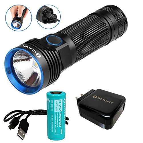 Olight R50 Seeker 2500 Lumens CREE XHP50 Rechargeable LED Flashlight with 4500mAh 26650 Rechargeable Battery, Quick Charger and LegionArms USB Charging Cord
