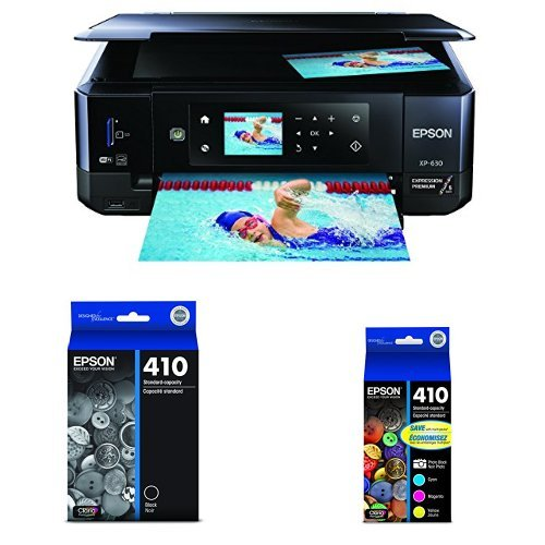 Epson Expression Premium XP-630 Wireless Color Photo Printer with Ink Cartridge, Black and Claria Premium Multipack Ink
