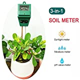 Soil PH Meter, 3-in-1 Plant Moisture, Light & PH Tester for Indoors&Outdoors Gardening Tool