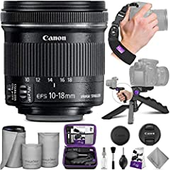 DIGITAL GOJA IS A CANON AUTHORIZED DEALER. 1 YEAR LIMITED WARRANTY. Bundle includes: - Canon EF-S 10-18mm f/4.5-5.6 IS STM Lens - Altura Photo Mini Tripod with Pistol Grip - Altura Photo Rapid Fire Wrist Strap - Altura Photo Hard-Shell...