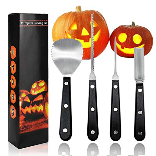 Pumpkin Carving Kit Knife Tools Halloween Sculpting Set including 4 Stainless Steel Carving Knives